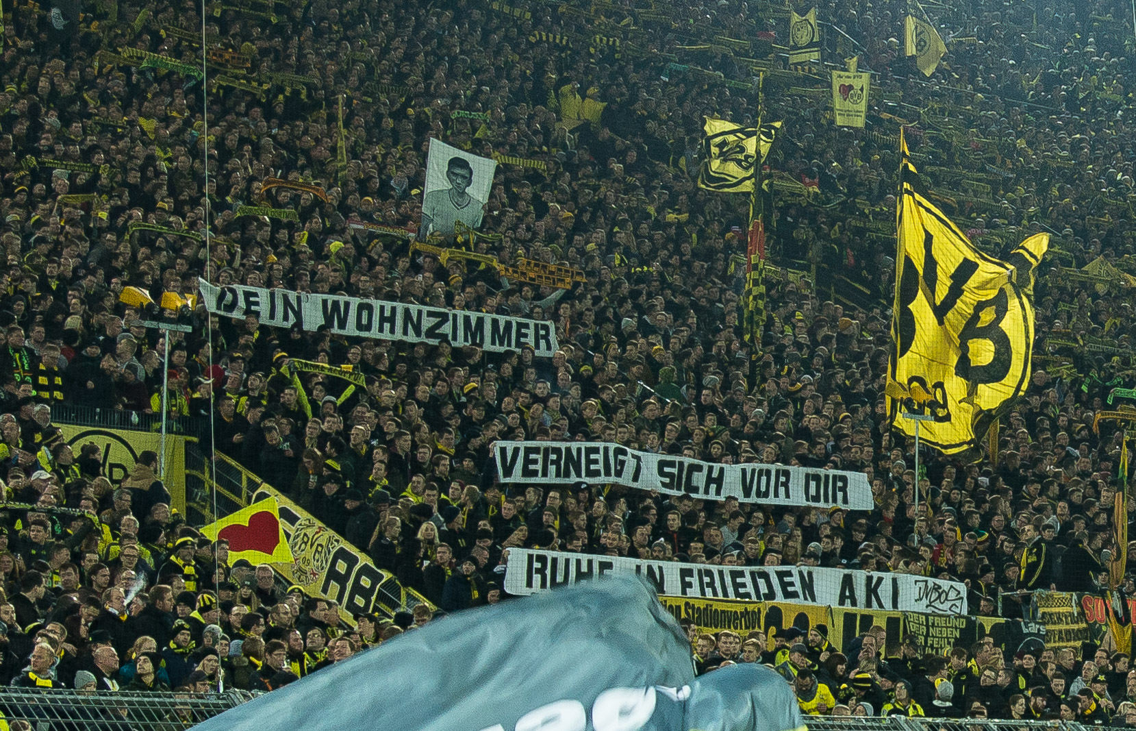 Dortmund GERMANY NOVEMBER 19 The Yellow Wall Of Supporters Borussia During Bandesliga Soccer Match Between BV And FC